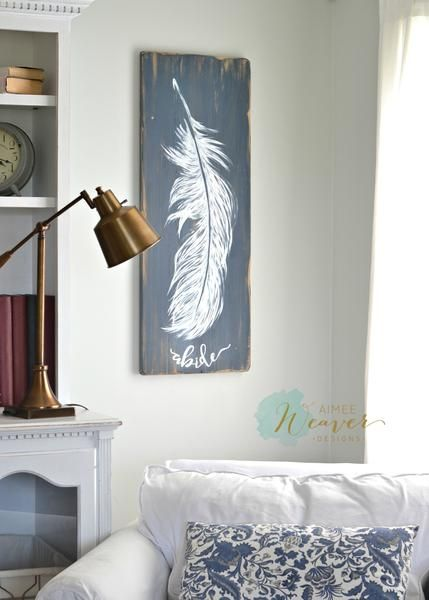 """Feather Painting """"Abide"""" {ready-to-ship}"""