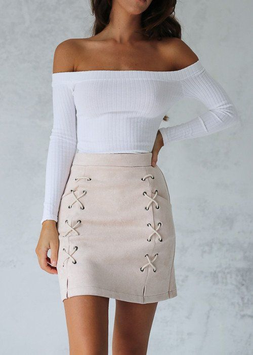 CROSSES SKIRT - BEIGE