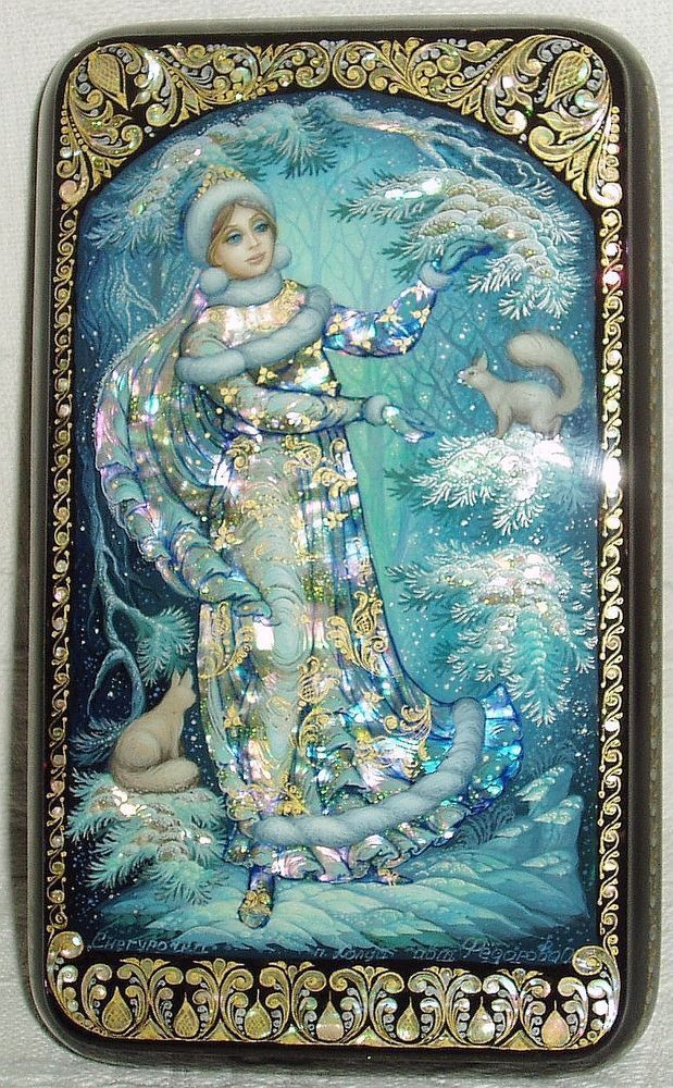 """Russian Lacquer box Kholui """" Snow Maiden and Squirrels """" miniature Hand Painted"""
