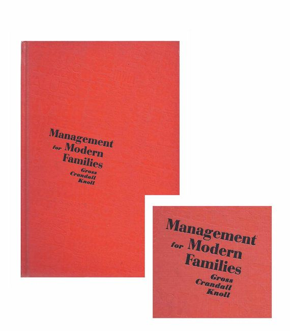 Management for Modern Families. 1973 Home Economics Textbook Management for Modern by MadgeAtHome