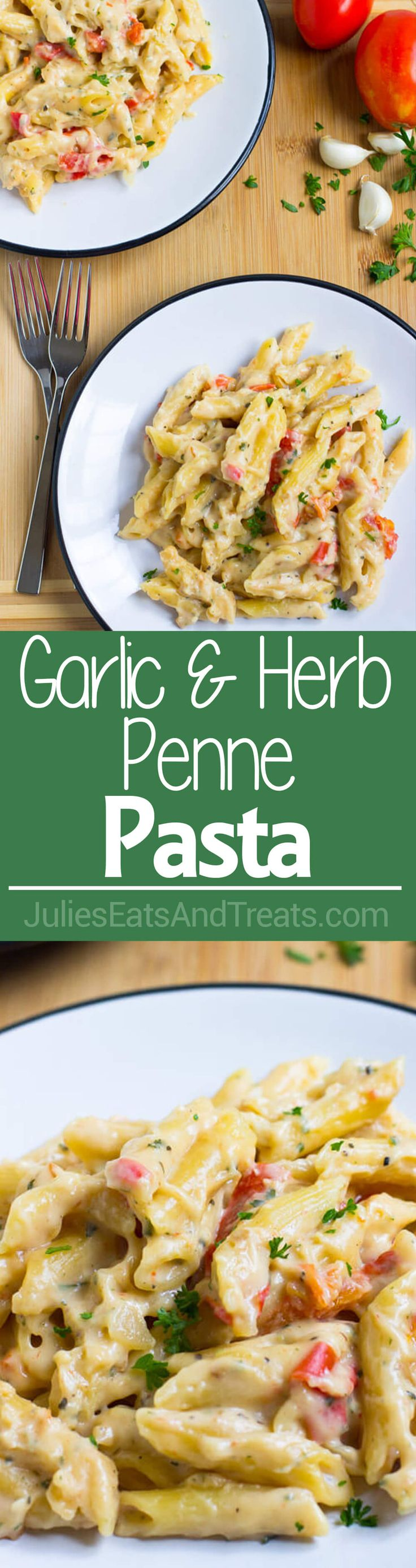 Garlic and Herb Penne Pasta Recipe ~ Quick, Easy, Delicious Pasta Dinner Ready in 20 Minutes! Loaded with Garlic, Tomato and Cheese!