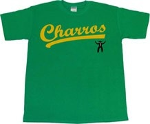 Kenny Powers Charros baseball jersey. Charros team name on front with gunfighter logo, Powers #55 on the back.