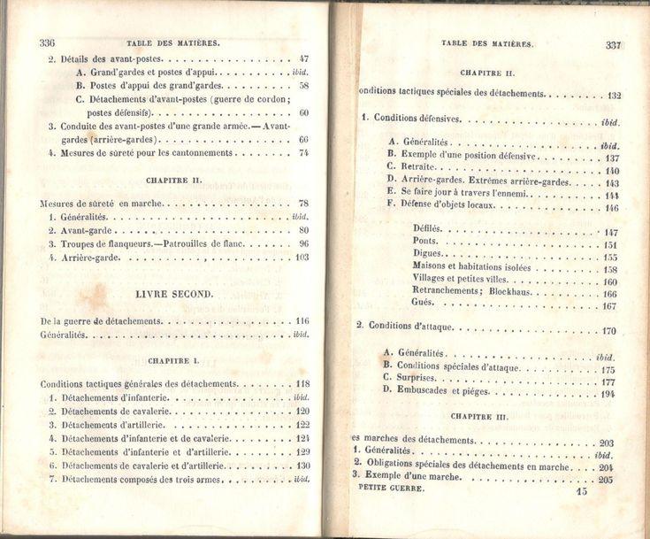 """Decker, """"De la petite guerre"""", Paris, J. Corréard, 1845. Table des chapitres, image 2 sur 4."""