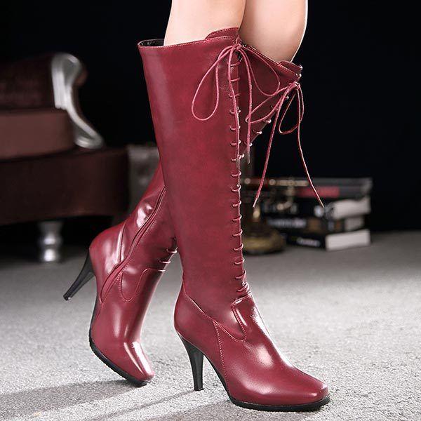 Новый Промоушен Sexy 10 см Тонкие Высокие Каблуки Колено Высокие Сапоги Мода квадратный Носок Сапоги Рыцаря женские Сапоги для верховой езды Зашнуровать высокие сапоги