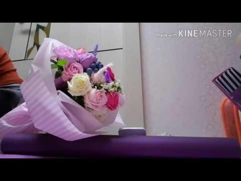 꽃다발 포장. 비누꽃 포장. 입학졸업꽃포장. ♡♡♡şeker buketi , candy bouquet, 糖果花束 chocolate bouquet - YouTube