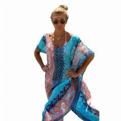 [ 22% OFF ] Summer Seaside 2016 Womens Geometric Beach Cover Up Dresses Chic Graphic Miami Beach Kaftan Poncho Vm41542 Robe De Plage