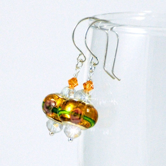 Wild Honey Lampwork Crystal Earrings - Geraldine Fay