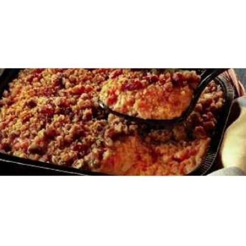 Mashed sweet potato casserole topped with toasted marshmallows and a brown sugar pecan streusel. The perfect side dish for Thanksgiving or any holiday celebration.