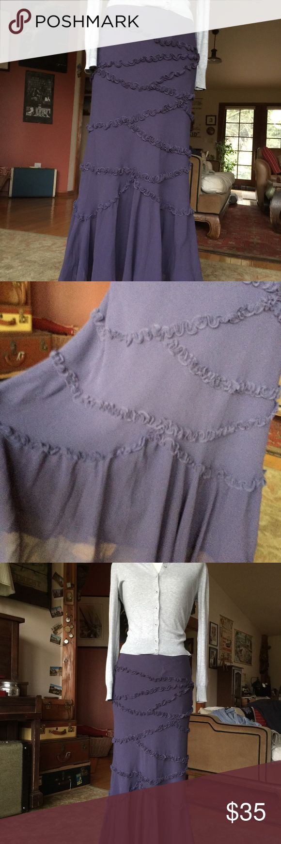 Anthropologie maxi skirt Flows, deep purple maxi skirt with under skirt attached. In EUC too big for me. Zipper to close on side. Anthropologie Skirts Maxi