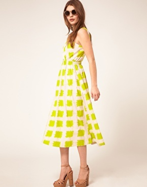 Enlarge ASOS Printed Midi Summer Dress With Cross Strap Bodice