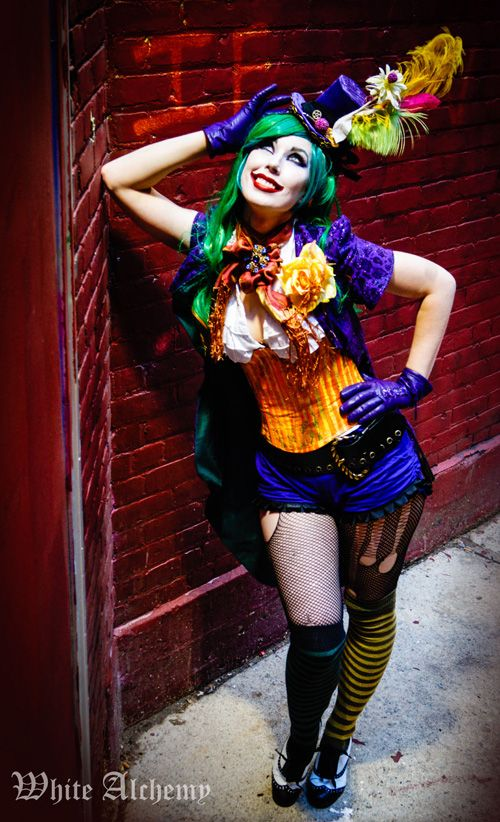 Female Joker Cosplay Loving The Ripped Tights Under The