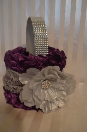 Purple Flower Girl Basket-Purple ruffle basket with silver lace and peony-Rhinestone handle via Etsy