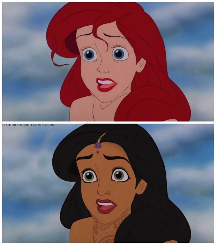 """""""A Whole New World Part 1"""" Disney Princesses as other races. By Let There Be Doodles! on Tumblr"""
