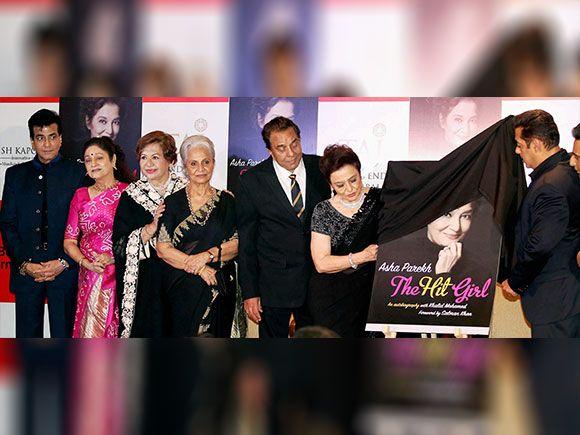 Bollywood actors Jeetendra, Aruna Irani, Helen, Waheeda Rehman, Dharmendra and Salman Khan