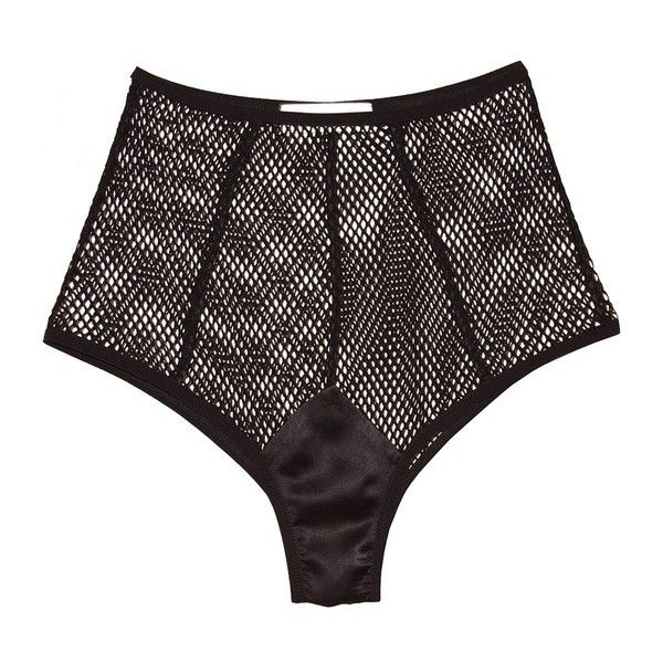 Fleur du Mal Fishnet High Waisted Panty ($85) ❤ liked on Polyvore featuring intimates, panties, black, briefs, fleur du mal, stretch panties, fishnet panties, high rise panties and high-waisted panties