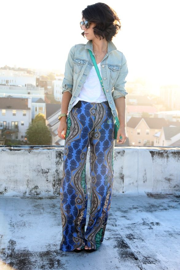 love this printed pants and jean jacket combo