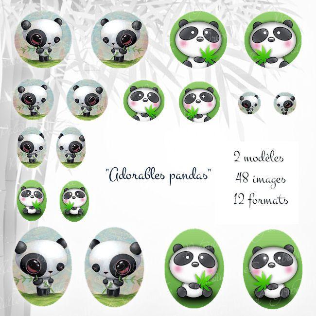 """images à imprimer pour cabochon """" Adorables pandas"""" : Images digitales pour bijoux par patouille-et-gribouille                                                                                                                                                                                 Plus"""