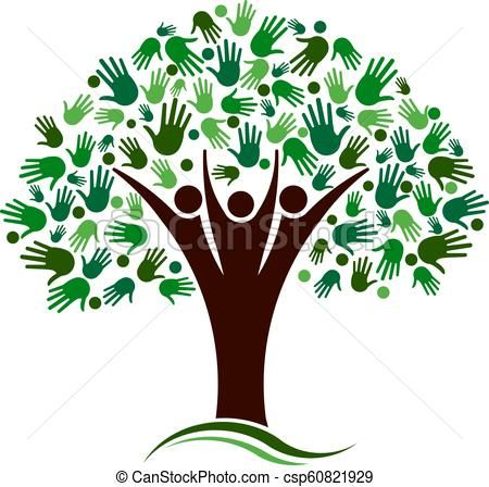 Family Tree With Hands Network Vector Logo\u201d #tree #hand #nature