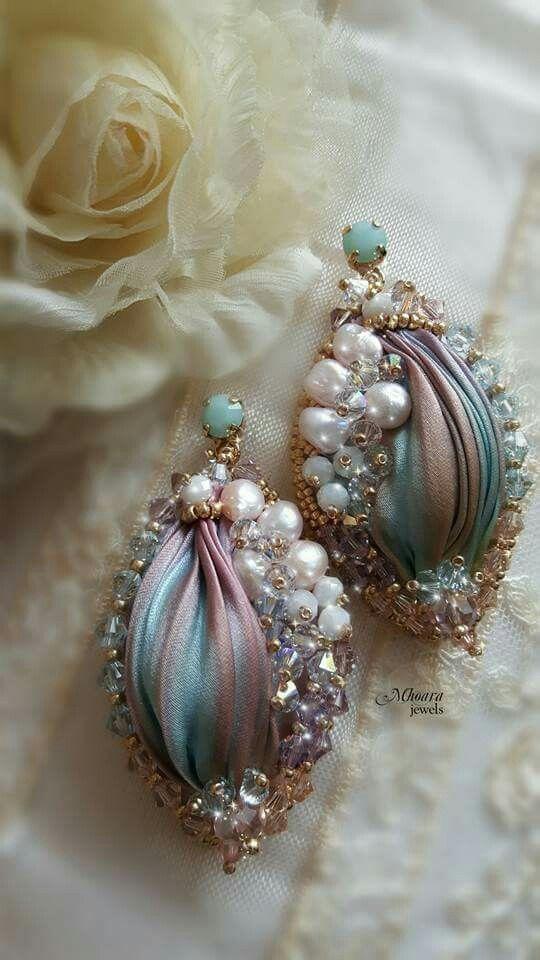' Serenity ' shibori silk earrings pink & serenity designed by Mhoara Jewels