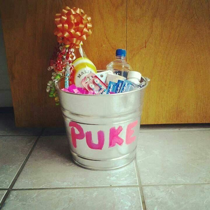 Hangover Recovery Kit. Puke bucket filled with all the essentials to cure your birthday hangover!!