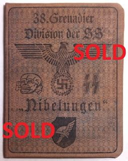 38TH SS DIVISION NIBELUNGEN WAFFEN SS SOLDBUCH ID CARD WEHRPASS PRICE $125
