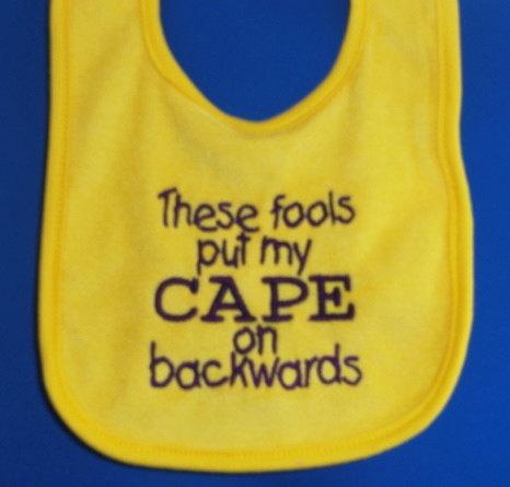 Cape bib: Capes Bibs, Funny Bibs, Baby Ideas, Big Kids, Grand Kids, Kids Alike, Baby Beans, Baby Bibs, Baby Stuff
