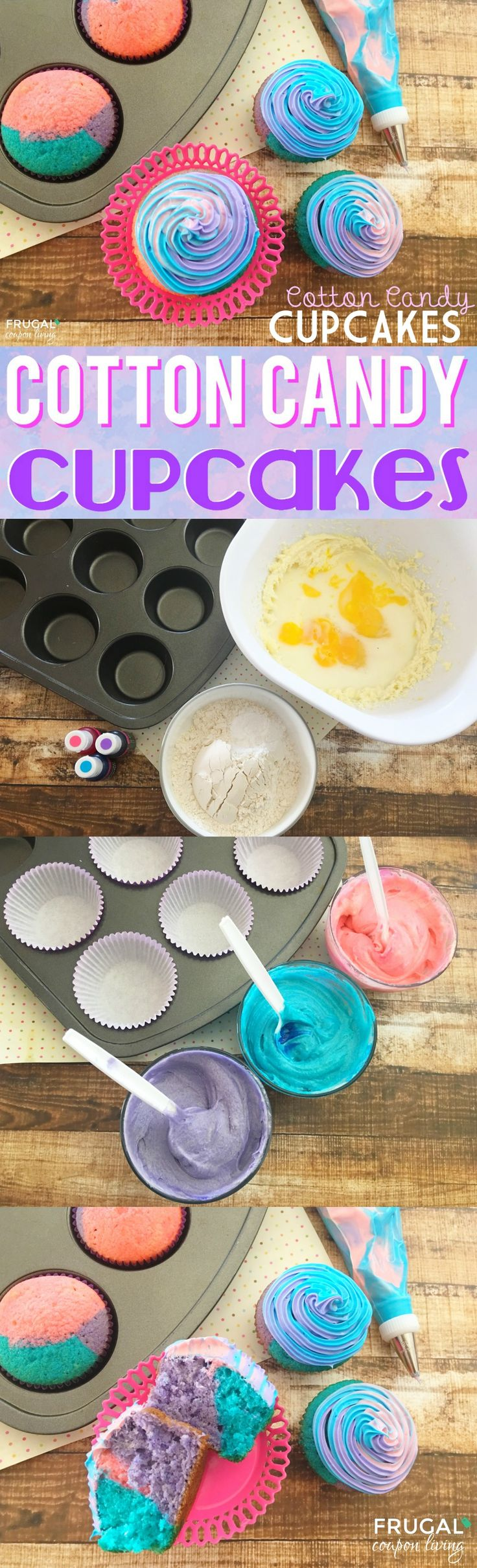 Cotton Candy Cupcakes - perfect cupcakes ideas for a party or summertime gathering. Tastes like REAL Cotton Candy and colored to be fun and festive! Details on Frugal Coupon Living.  #frugalcouponliving #cottoncandy #homemadecottoncandy #cupcakes #cupcakerecipes #recipes #cottoncandyrecipes