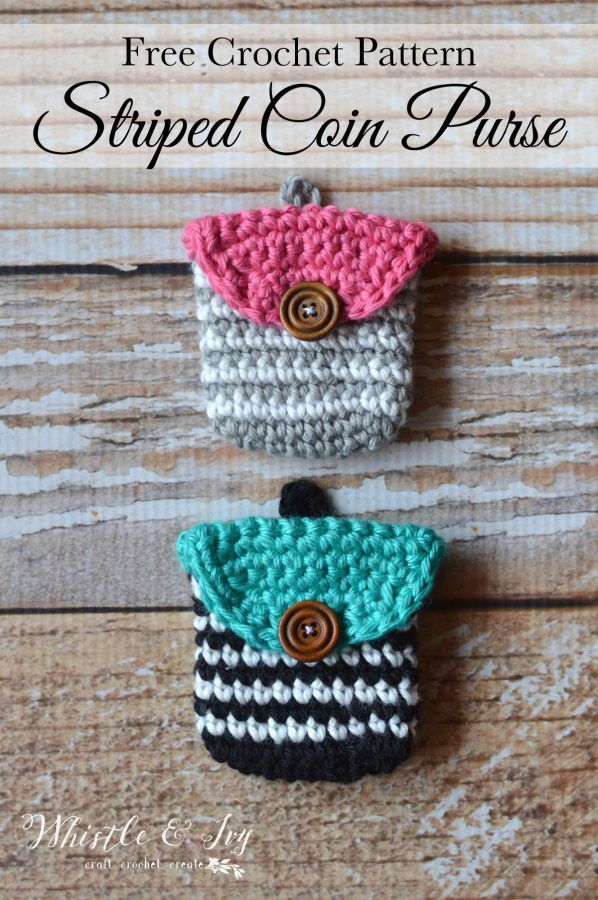 FREE Pattern: Crochet Striped Coin Purse   Make this cute little pouch to hold all your loose change. Fits easily in your purse or hangs on your key ring!