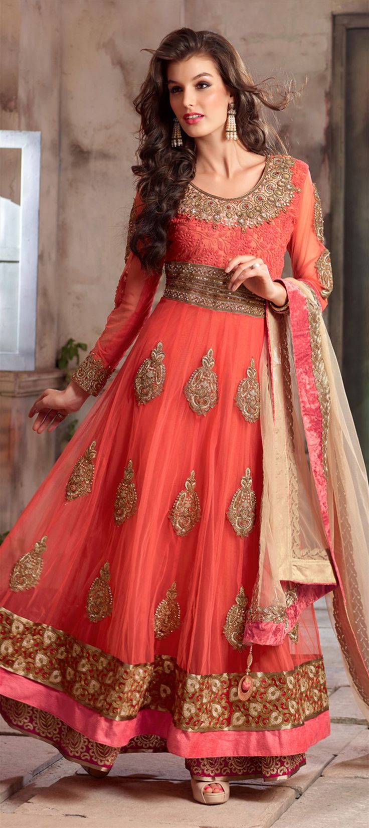 420540: Orange color family semi-stiched Anarkali Suits.