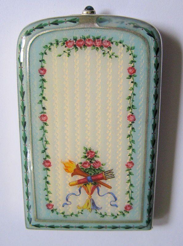 Vintage Guilloche Enamel Floral Design Compact