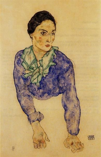 Egon Schiele, Portrait of a Woman with Blue and Green Scarf, 1914, watercolour on paper, Private Collection