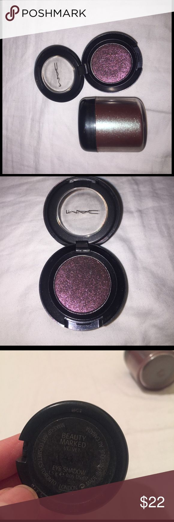 MAC Glitter eyeshadow bundle Marked Beauty has only been swatched and never used. The one in the big pot has a little more than halfway, very pigmented. The brand and name has come off on the big pot but from MAC. Very pretty colors! MAC Cosmetics Makeup Eyeshadow