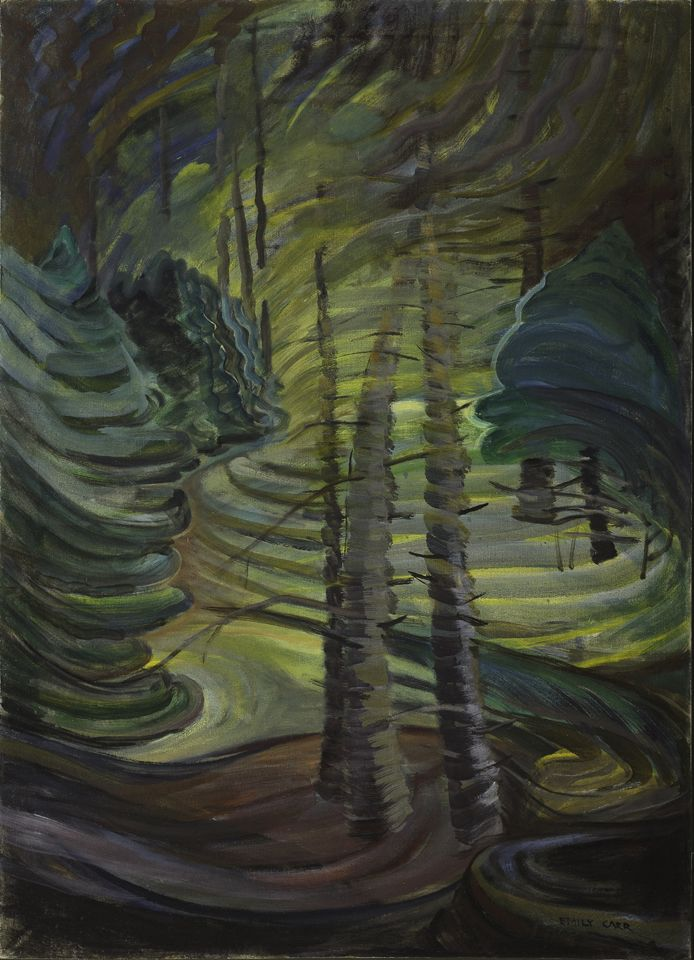 "Emily Carr's increasingly expressionistic, sensual, and embodied paintings take the expressive brushwork of her earlier works even further, almost completely fragmenting the image to create an open, vibrating treatise on the life force she imagined in these forests. ""Dancing Sunlight,"" c. 1937, McMichael Canadian Art Collection."