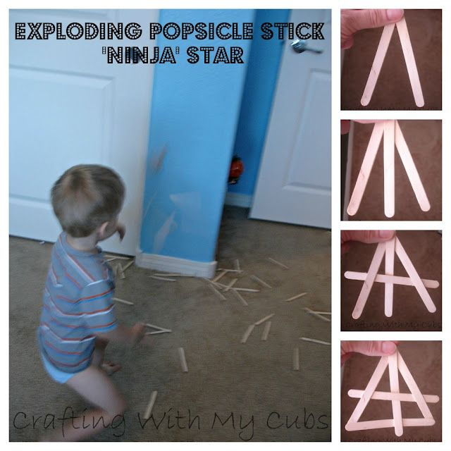 Exploding Popsicle Stick Ninja Stars. These are a really fun indoor activity for little kids for those hot summer or rainy days!