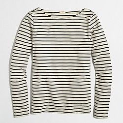 Factory long-sleeve stripe boatneck tee