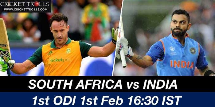 India to take on South Africa in the first game of 6 match ODI series today! #SAvIND - facebook.com/MyCricketTrolls