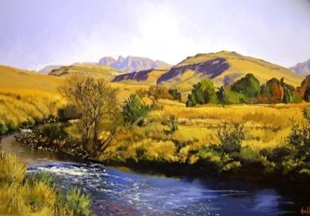 Oil Painting - Rhino Peak Southern Drakensberg by Ted Hoefsloot