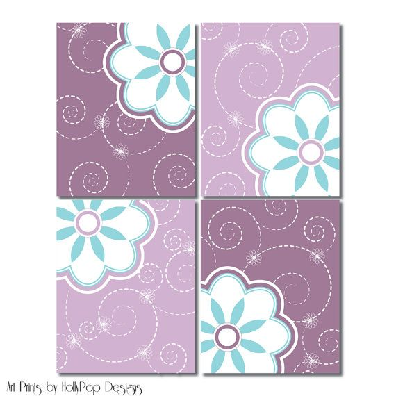 Modern Nursery Wall DecorFloral Quad Prints by HollyPopDesigns, $43.00