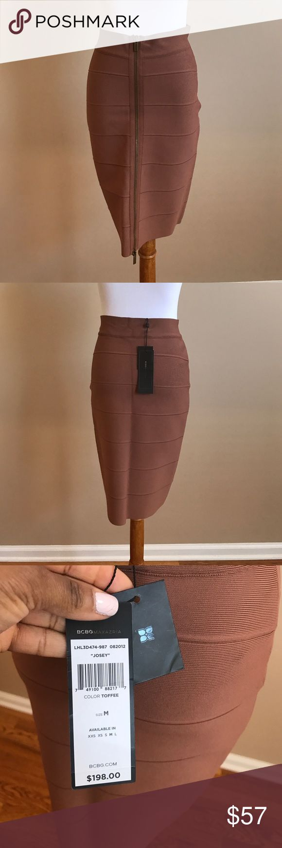 BCBG Josey bandeau skirt BCBG Josey bandeau skirt. Bronze zipper in the front. Great for any season and nights out! Featuring a high-rise waist, a stretch waistband and bandage-style construction. Color: toffee. Never worn with tags still attached. Sold out on most other sites. BCBG Skirts Mini