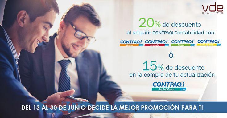 A nuestros Clientes y Usuarios de los Sistemas de ContPAQi les compartimos las promociones del mes de Junio, contactamos a ventas@vde-suite.com