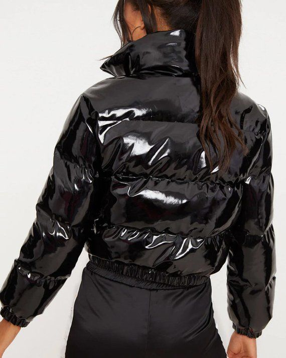 detailed look 9c92a c0507 Shiny PVC/Vinyl Down Jacket (Short Puffer Bomber) - Women's ...