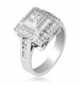 0.99 CTTW Diamond Ring with Princess Cut Center Stone in 18K White Gold