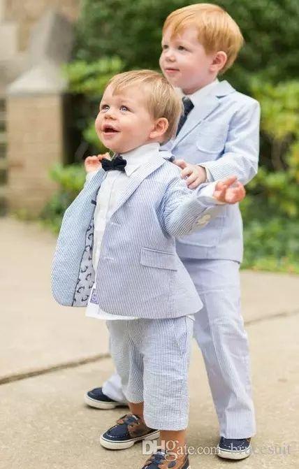 2017 Cotton Blue Pinstripe Seersucker Boy'S Tuxedo Custom Made Children Suit Jacket Boy'S Formal Wear Kids Prom Suits WeddingJaclet+Pant Formal Outfits For Men Kids Boys Dress From Brucesuit, $54.6| Dhgate.Com