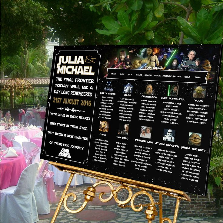 Personalised Wedding Table Seating Plan-STAR WARS THEME-4 SIZES AVAILABLE | Star wars wedding ...