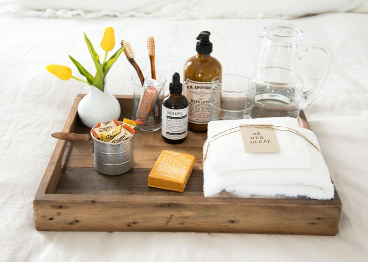 Love this idea of putting together a tray of goodies and essentials for your guests