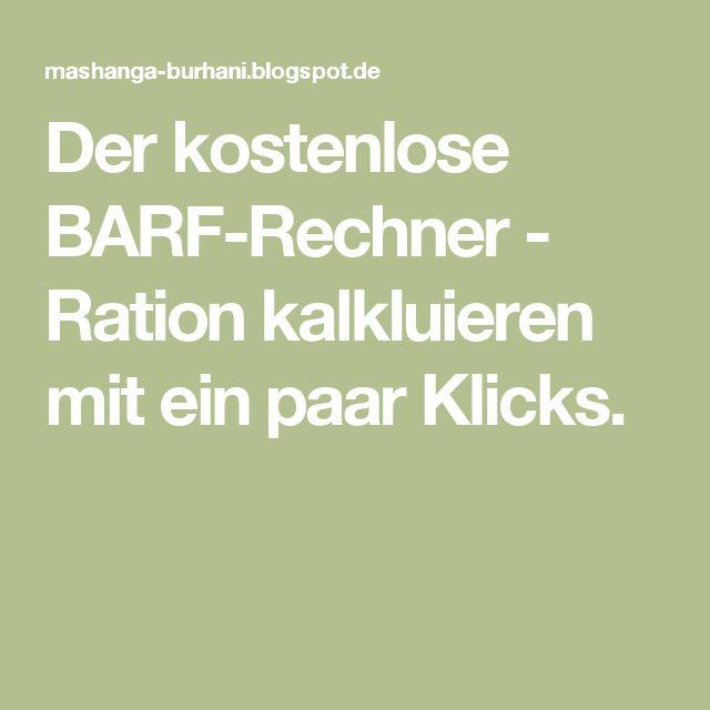 Der kostenlose BARF-Rechner - Ration kalkluieren mit ein paar Klicks.