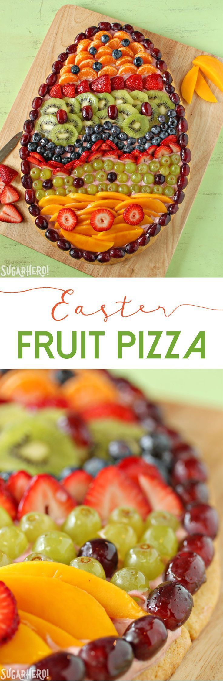 Fruit Pizza in the shape of an Easter egg. This is the best spring breakfast and brunch recipe! | From SugarHero.com