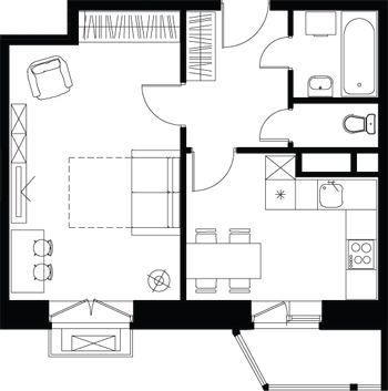 1-комнатная Французские окна Эколофт - дом КЛАССИКА SMART - Город-событие Лайково