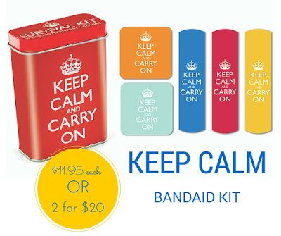 Keep Calm Bandaid Kit $11.95 each or 2 for $20. This was one of our most popular stocking-stuffer gifts last Christmas. These plasters are so cute and colourful they'll take your mind off scraps and scratches:-) #keepcalm #bandaids #plasters