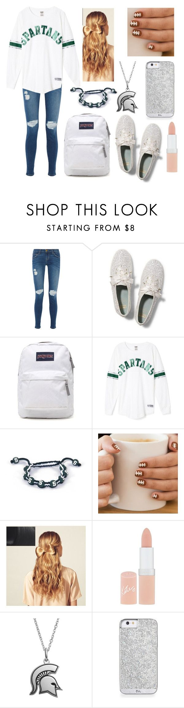 """MSU Game"" by laylaskye ❤ liked on Polyvore featuring Current/Elliott, Keds, JanSport, Hershesons, Rimmel and Fiora"